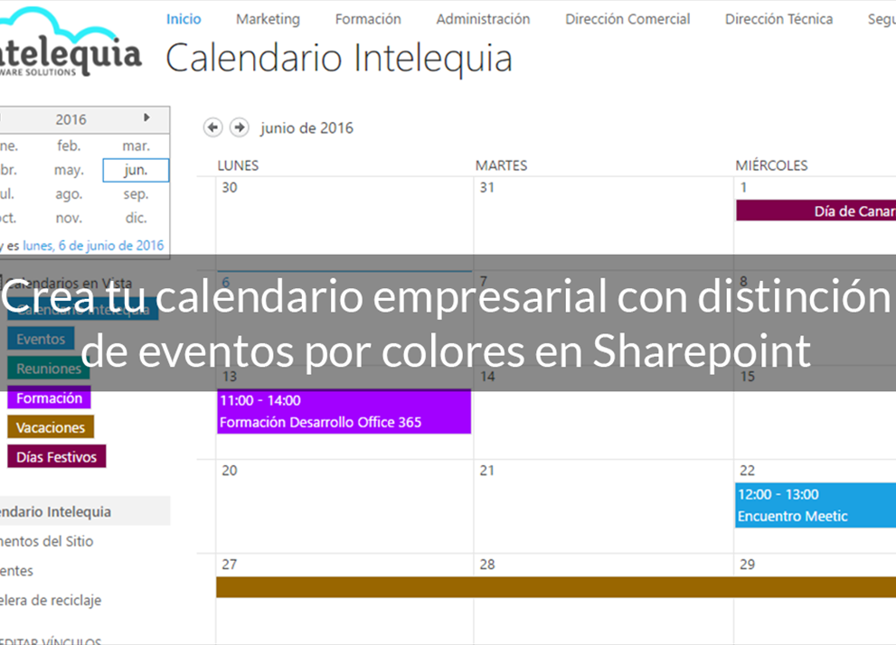 Crea tu calendario con distinción de eventos por colores en Sharepoint