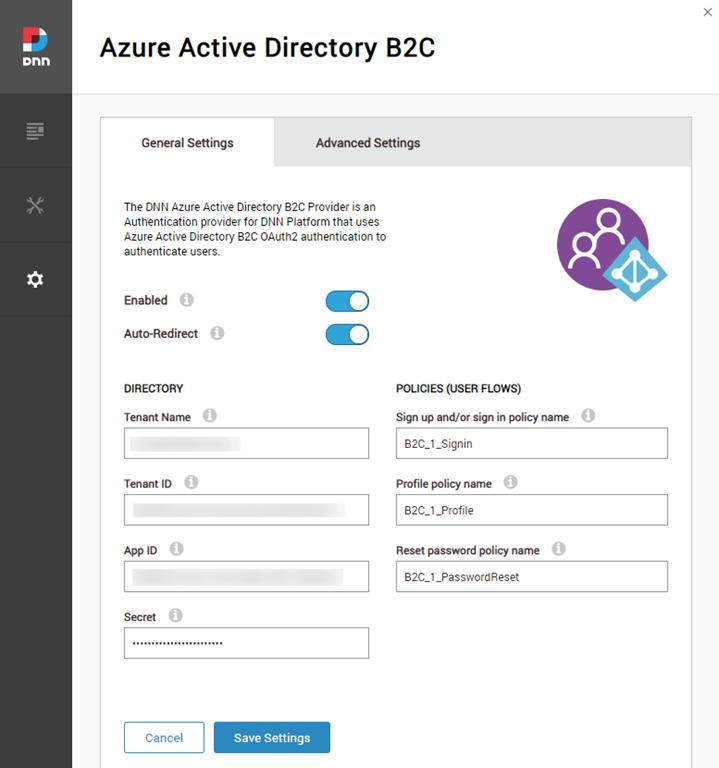 New Azure Active Directory B2C provider for DNN Platform
