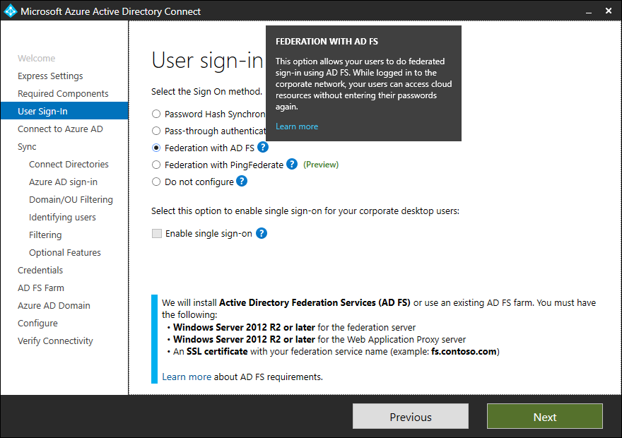 federation with active directory fs